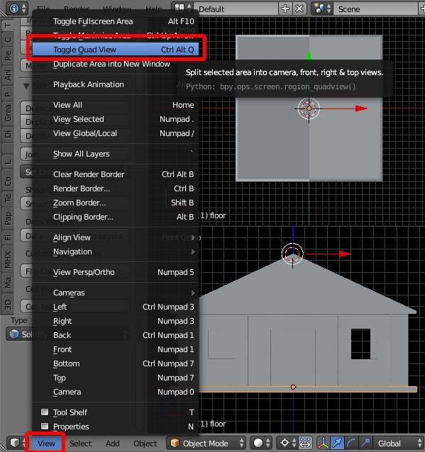 How to toggle quad view of a modeled building