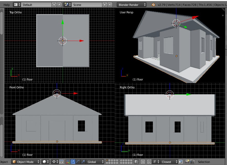 Quad view of a modeled building